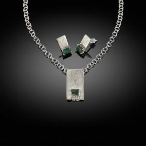 Mokume gane earrings and pendant set (white gold/silver) with nephrite