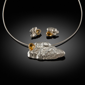Earrings and pendant set (silver) with citrine