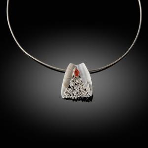'Reverse'. Mokume gane pendant (rose gold/silver) with orange garnet