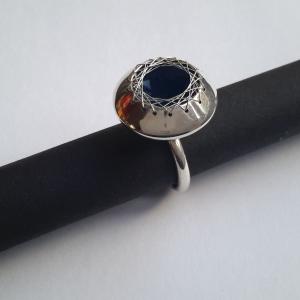 Zilveren ring met geweven zilverdraad