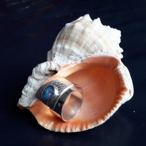 Zilveren gelaagde ring met opaal